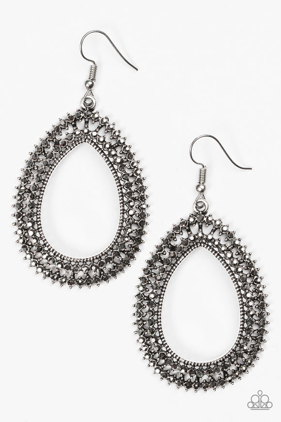 Award Show Sparkle - Silver - Hematite Rhinestone Earrings