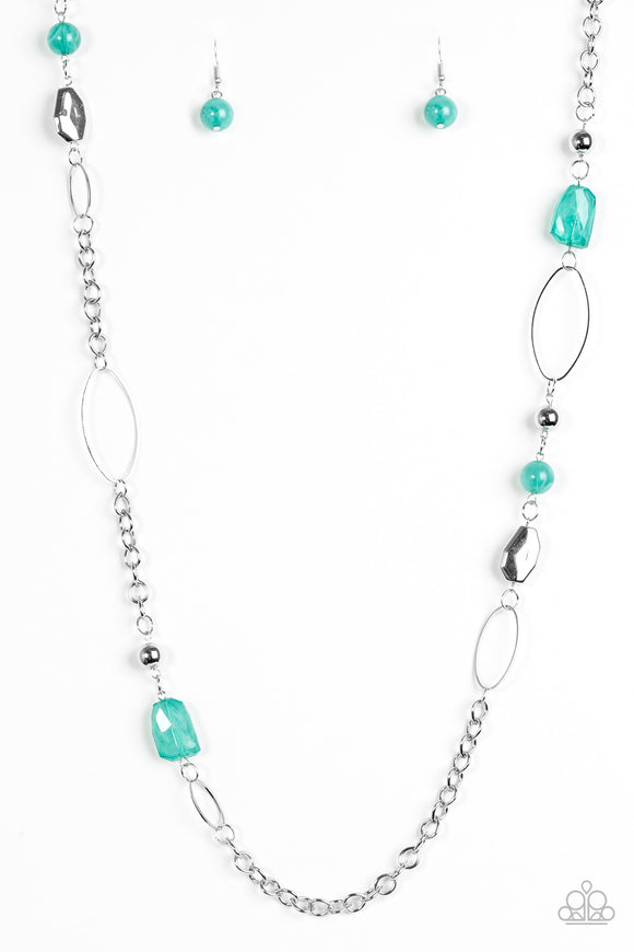 Paparazzi Popular Demand - Green Beads - Silver Chain Necklace and matching Earrings