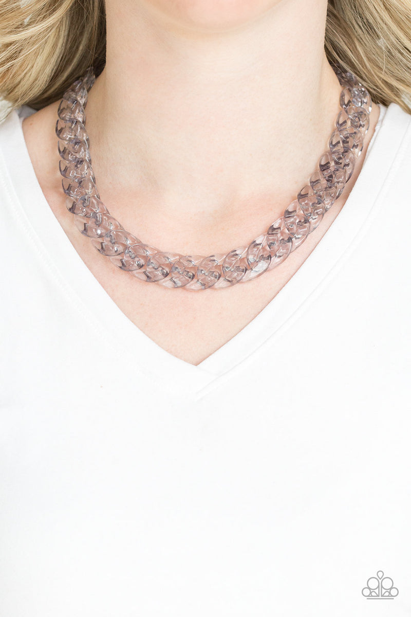 Paparazzi Put It On Ice Silver Acrylic Necklace And