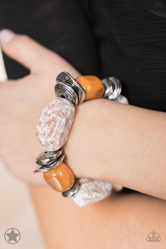 Paparazzi Glaze of Glory - Peach Bracelet - Blockbuster Exclusive! - Lauren's Bling $5.00 Paparazzi Jewelry Boutique