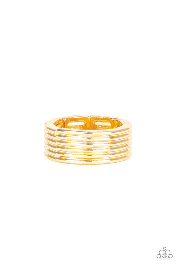 Paparazzi A Mans Man - Gold - Thick Band Ring - Men's Collection