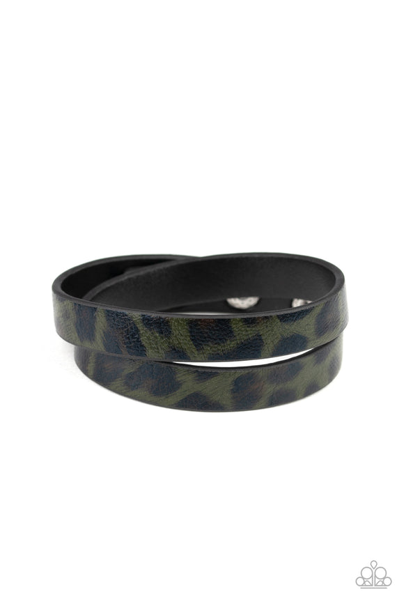 Pre-Order Ship 4/8 Paparazzi All GRRirl - Green - and Black Cheetah Print - Black Leather - Double Wrap Bracelet