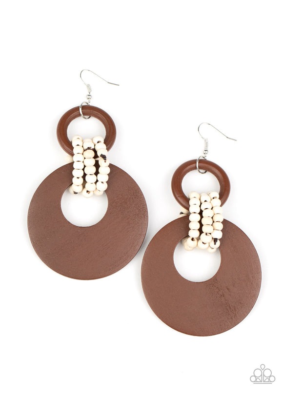 Paparazzi Beach Day Drama - Brown - Wooden Earrings