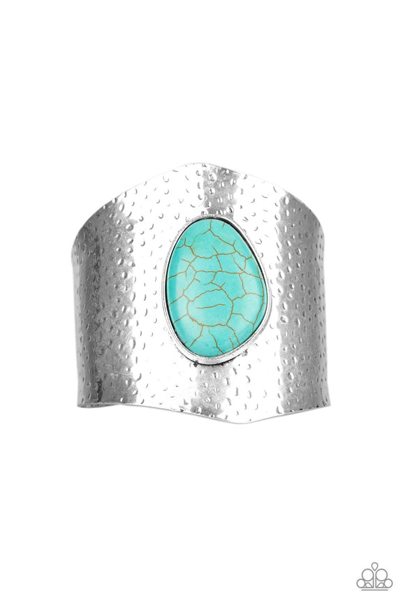 Paparazzi Casual Canyoneer - Blue Turquoise Stone - Hammered Cuff Bracelet - Life of the Party Exclusive September 2019