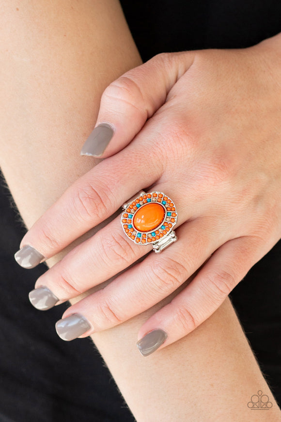 Paparazzi Colorfully Rustic - Orange - Blue and Brown Beads - Ring - Lauren's Bling $5.00 Paparazzi Jewelry Boutique