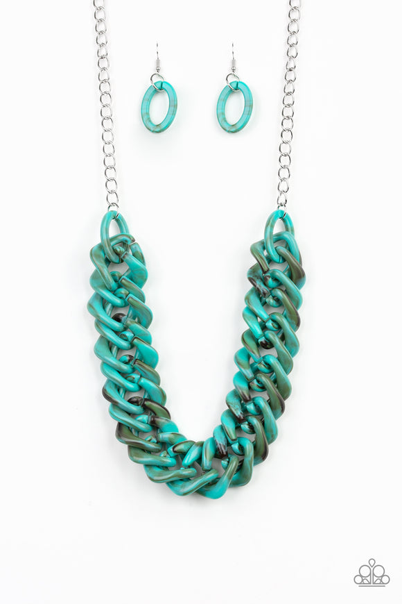 Paparazzi Comin In HAUTE - Blue Turquoise - Faux Marble Acrylic - Necklace and matching Earrings