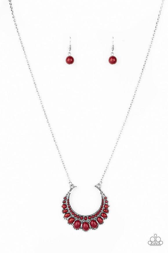 Paparazzi Count To ZEN - Red Beads - Silver Chain Necklace and matching Earrings - Lauren's Bling $5.00 Paparazzi Jewelry Boutique