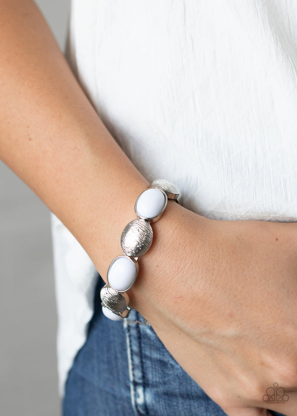 Paparazzi Decadently Dewy - White - Silver Stretchy Bands - Bracelet