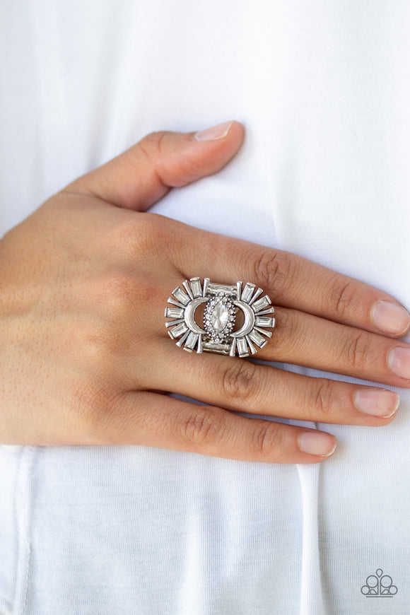 Paparazzi Deco Diva - White - Emerald Cut Rhinestone - Antiqued Silver Ring - Life of the Party Exclusive October 2019 - Lauren's Bling $5.00 Paparazzi Jewelry Boutique