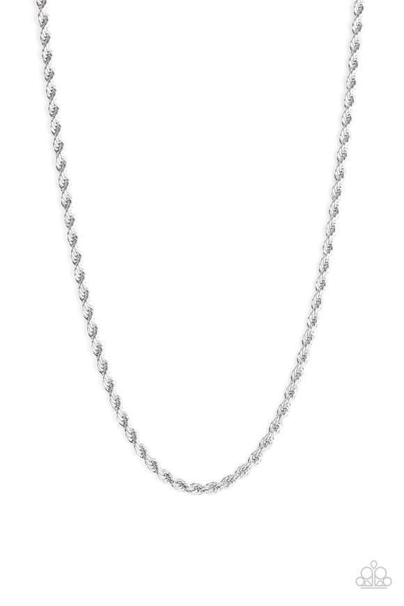 Paparazzi Double Dribble - Silver - Thick Rope Chain Necklace - Men's Collection