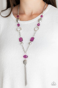 Paparazzi Ever Enchanting - Purple - Shimmery Silver Hoops, Ornate Beads - Necklace & Earrings - Lauren's Bling $5.00 Paparazzi Jewelry Boutique