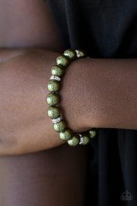 Paparazzi Exquisitely Elite - Green Pearls - White Rhinestone - Bracelet - Lauren's Bling $5.00 Paparazzi Jewelry Boutique