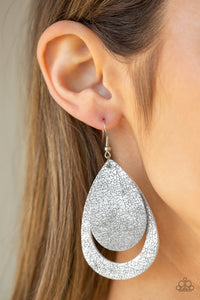 Paparazzi Fiery Firework - Silver LEATHER  - Teardrop Earrings - Lauren's Bling $5.00 Paparazzi Jewelry Boutique