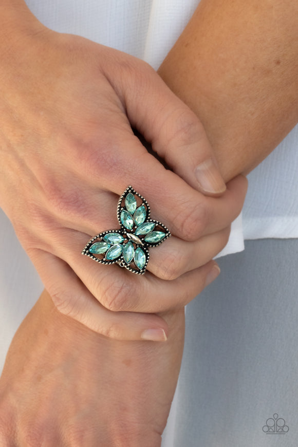 PRE-ORDER - Paparazzi Fluttering Fashionista - Blue - Ring - Lauren's Bling $5.00 Paparazzi Jewelry Boutique