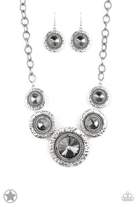 Paparazzi Global Glamour -Silver - Necklace and matching Earrings - Blockbuster Exclusive