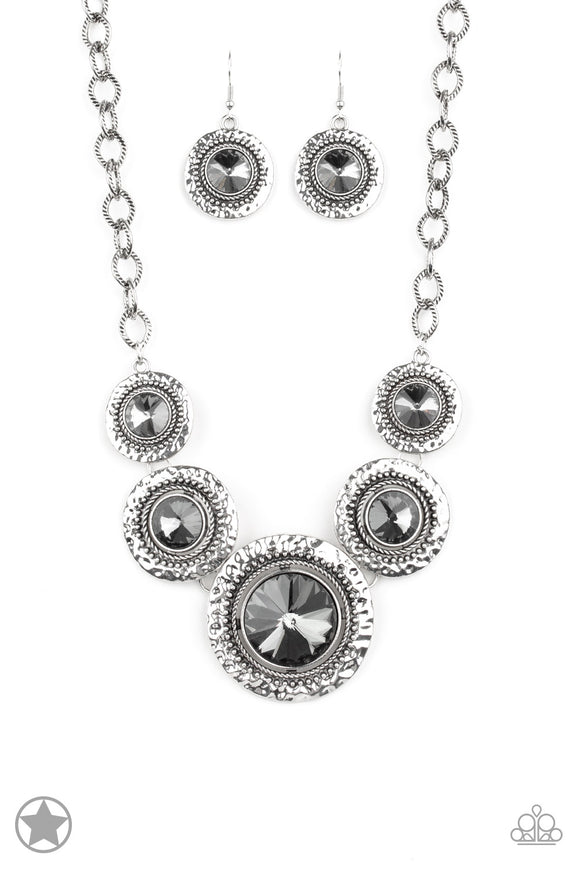 Paparazzi Global Glamour -Silver - Necklace and matching Earrings - Blockbuster Exclusive - Lauren's Bling $5.00 Paparazzi Jewelry Boutique