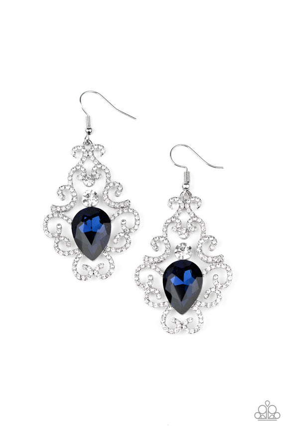 PRE-ORDER - Paparazzi Happily Ever AFTERGLOW - Blue - White Rhinestones - Earrings
