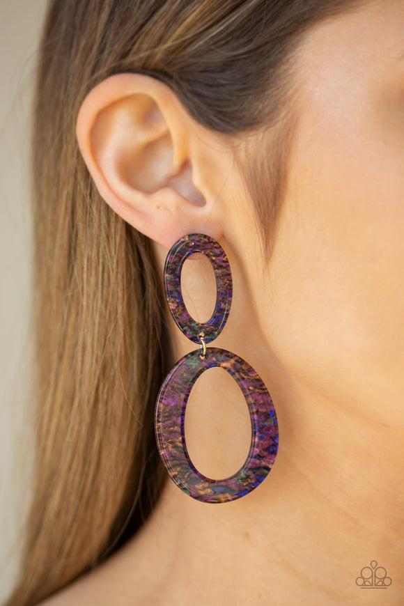Paparazzi Hey, HAUTE Rod - Multi Dark - Colorful Metallic Accents - Acrylic Frames - Post Earrings