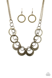 Paparazzi In Full Orbit - Brass - Hoops - Double Chain Necklace and matching Earrings - Lauren's Bling $5.00 Paparazzi Jewelry Boutique