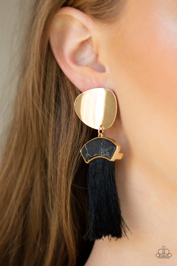 Paparazzi Insta Inca - Gold - Black Thread / Fringe / Tassel - Gold Post Earrings