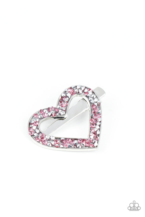 Paparazzi Love is a Battlefield - Pink Rhinestones - Heart Hair Clip - Lauren's Bling $5.00 Paparazzi Jewelry Boutique