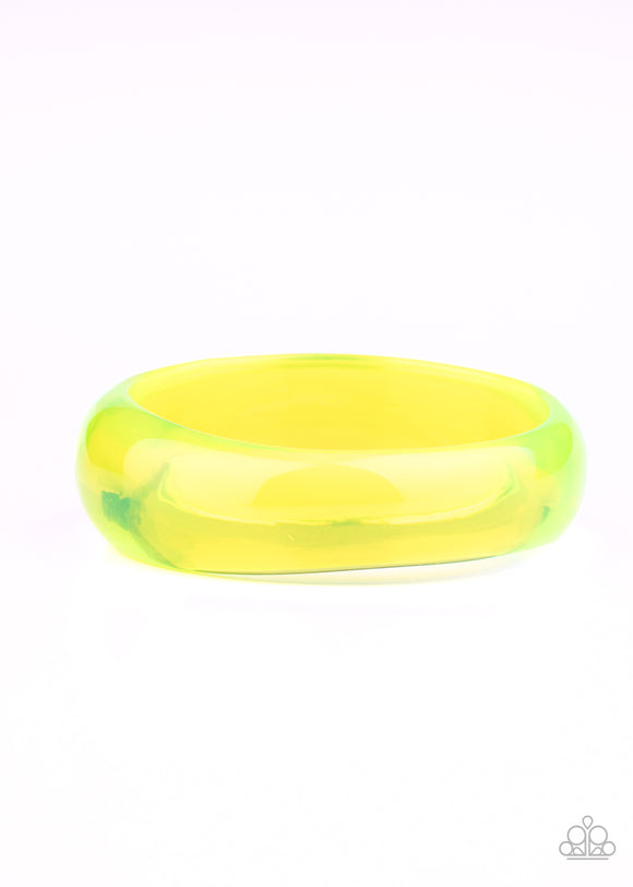 Paparazzi Major Material Girl - Yellow - Neon Acrylic Bangle - Bracelet - Lauren's Bling $5.00 Paparazzi Jewelry Boutique