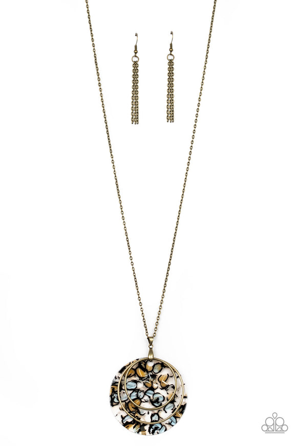 Paparazzi Metro Mosaic - Brass - Hoops and Chain - Retro Acrylic Pendant - Necklace & Earrings