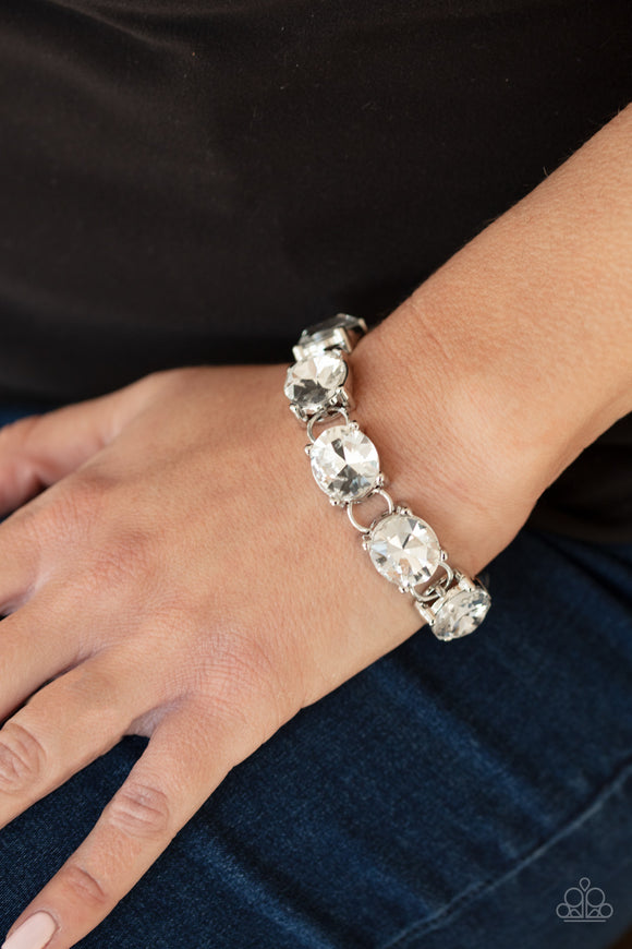 Paparazzi Mind Your Manners - White Rhinestones - Adjustable Bracelet - Life of the Party Exclusive June 2020