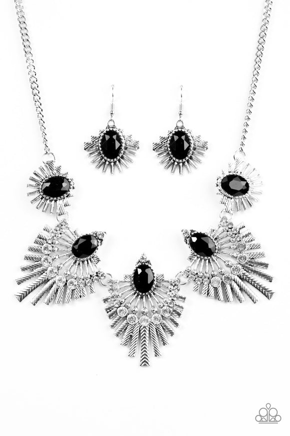 Paparazzi ENCORE EXCLUSIVE 2020 - Miss YOU-niverse - Black Gem - White Rhinestones - Necklace & Earrings - Lauren's Bling $5.00 Paparazzi Jewelry Boutique