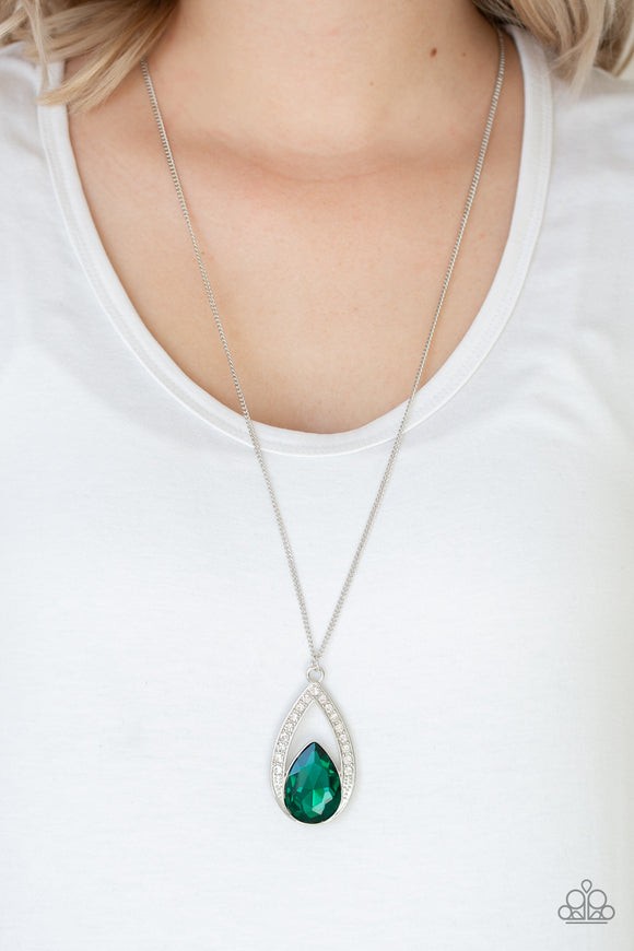 Paparazzi Notorious Noble - Green Teardrop Gem - White Rhinestones - Necklace and matching Earrings - Lauren's Bling $5.00 Paparazzi Jewelry Boutique