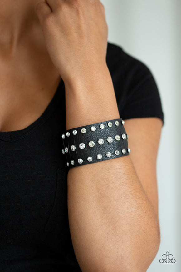 Paparazzi Now Taking The Stage - Black Leather Band - White Rhinestones - Bracelet - Lauren's Bling $5.00 Paparazzi Jewelry Boutique