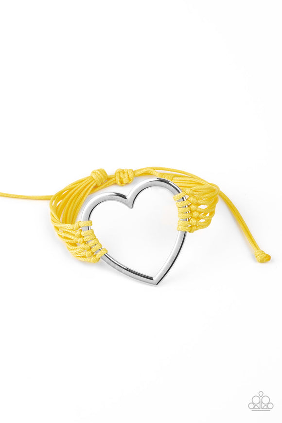 Paparazzi Playing With My HEARTSTRINGS - Yellow - Heart Sliding Knot Bracelet - Lauren's Bling $5.00 Paparazzi Jewelry Boutique