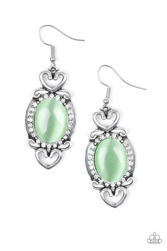 Paparazzi Port Royal Princess - Green Moonstone - White Rhinestones - Silver Heart - Earrings
