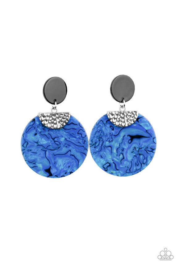 Paparazzi Really Retro-politan - Blue - Acrylic Hammered Silver Accents - Post Earrings - Lauren's Bling $5.00 Paparazzi Jewelry Boutique