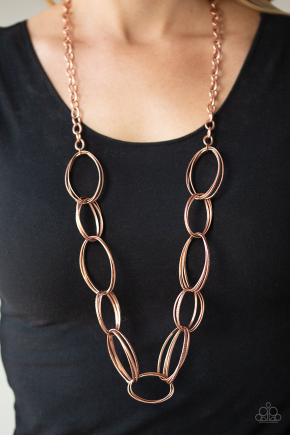 Paparazzi Ring Bling - Copper - Hammered Oval Links - Necklace & Earrings - Lauren's Bling $5.00 Paparazzi Jewelry Boutique