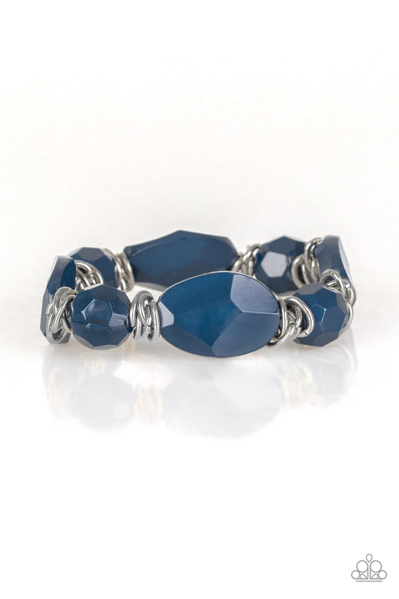 Paparazzi Savor The Flavor - Blue Beads - Shimmery Silver Stretchy Band Bracelet - Lauren's Bling $5.00 Paparazzi Jewelry Boutique