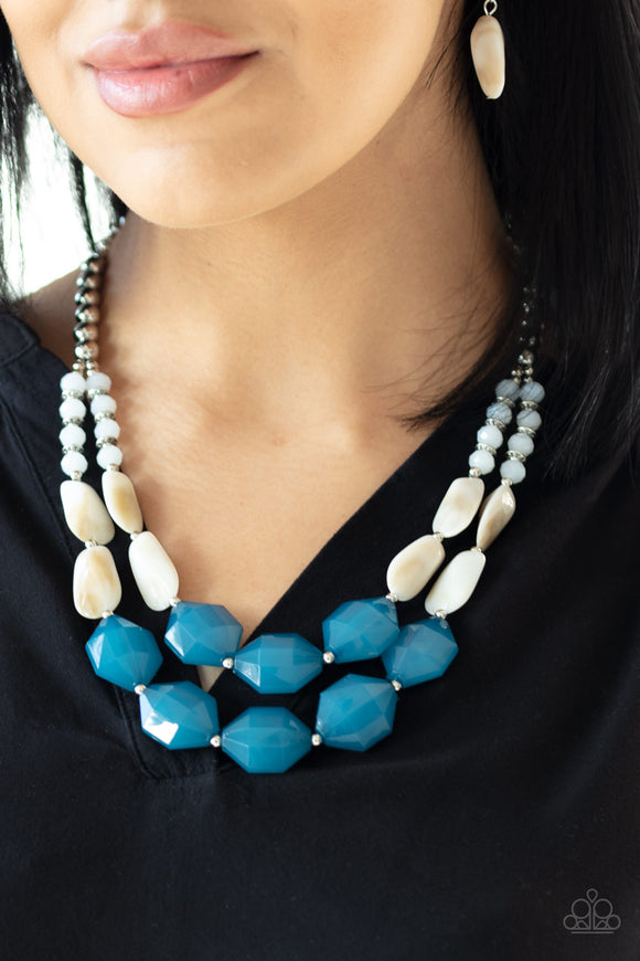 Paparazzi Seacoast Sunset - Blue - Faceted Beads - Silver, Opaque Crystals - Necklace & Earrings - Lauren's Bling $5.00 Paparazzi Jewelry Boutique