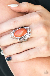 Paparazzi Sedona Sunset - Orange Stone - Silver Filigree Detail - Ring - Lauren's Bling $5.00 Paparazzi Jewelry Boutique