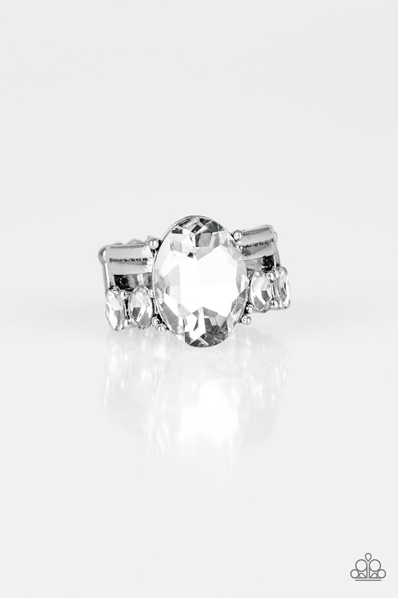 Paparazzi Shine Bright Like A Diamond - White Emerald Cut Gem - White Rhinestones - Ring - Life of the Party Exclusive August 2019