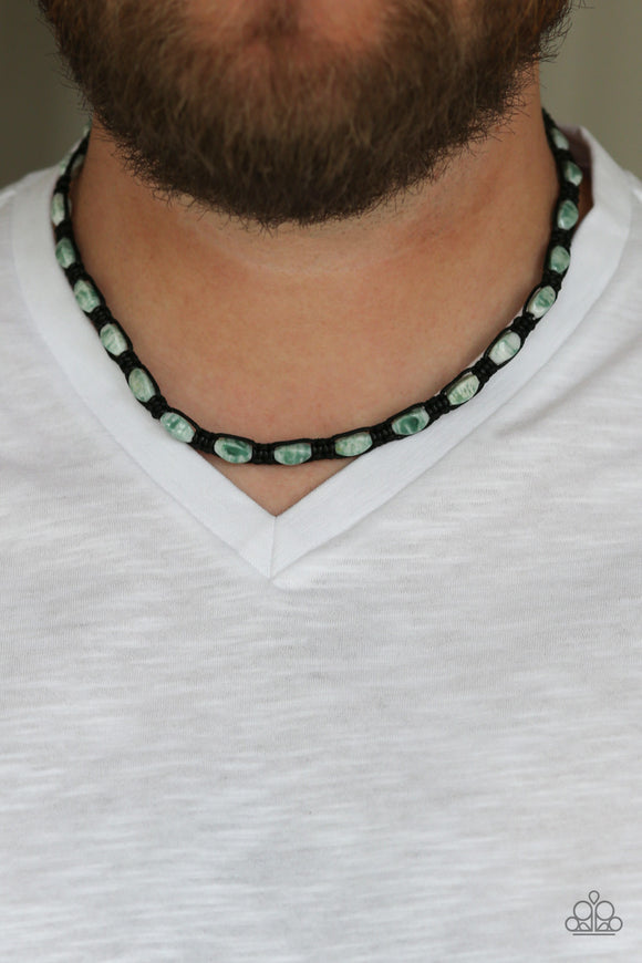 Paparazzi Slip and ROCKSLIDE - Green Stones - Braided Black Cord - Necklace - Lauren's Bling $5.00 Paparazzi Jewelry Boutique