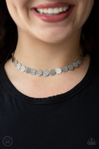 Paparazzi Spot Check - Silver - Dainty Discs Link Around Neck - Choker Necklace & Earrings - Lauren's Bling $5.00 Paparazzi Jewelry Boutique
