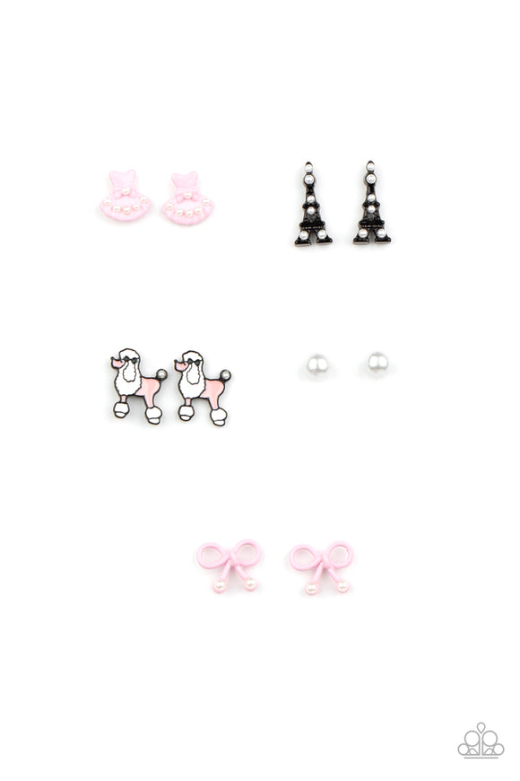 Paparazzi Girls Starlet Shimmer Earrings - 10 - Poodles, Pearls, Dresses & Eiffel Towers