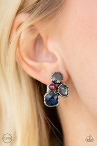 Paparazzi Super Superstar - Multi - Purple Pearl, Blue, Smoky and Hematite Rhinestones - Clip On Earrings - Lauren's Bling $5.00 Paparazzi Jewelry Boutique
