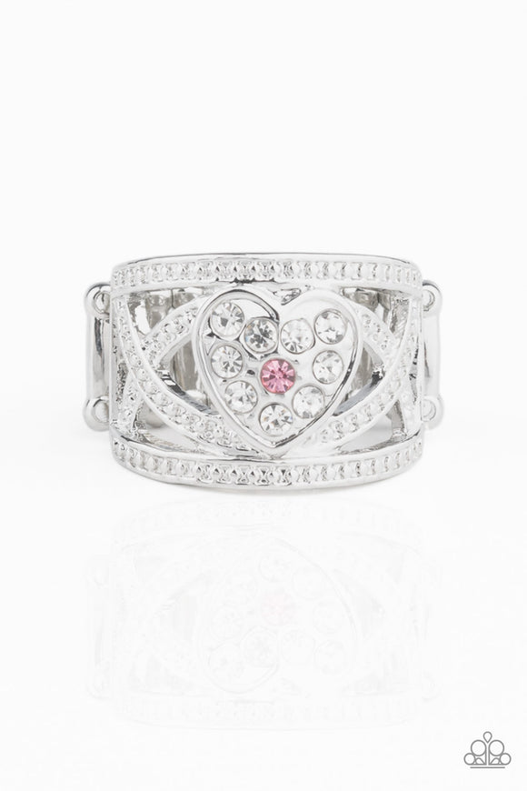 Paparazzi Sweetly Sweetheart - Pink - White Rhinestones - Heart Ring