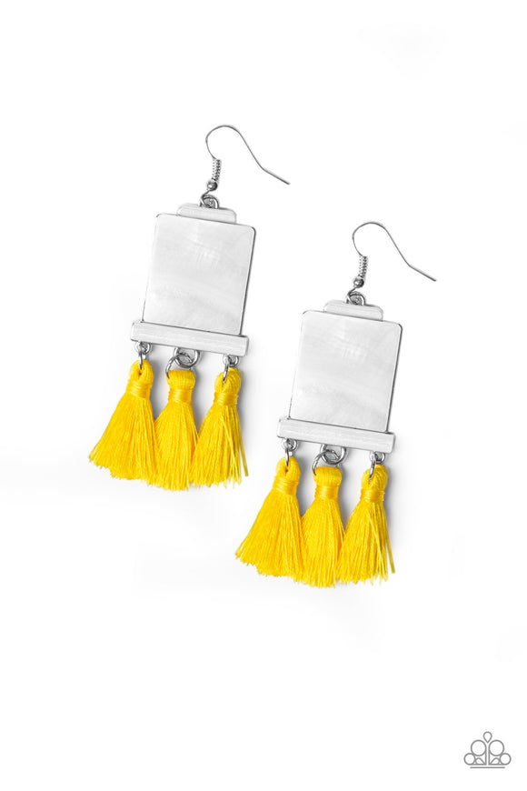 Paparazzi Tassel Retreat - Yellow Thread / Fringe - Rectangular Shell Like Acrylic - Earrings
