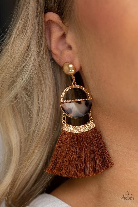 Paparazzi Tassel Trot - Brown - Gold Hammered Tortoise Shell Acrylic - Post Earrings - Lauren's Bling $5.00 Paparazzi Jewelry Boutique