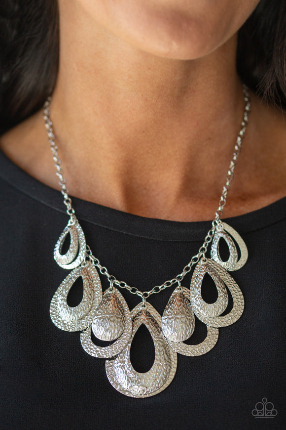 Paparazzi Teardrop Tempest - Silver - Hammered Textured Teardrops - Necklace & Earrings