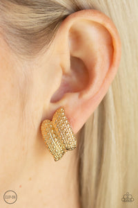 Paparazzi Texture Twist - Gold - High Sheen Finish - Clip on Earrings - Lauren's Bling $5.00 Paparazzi Jewelry Boutique