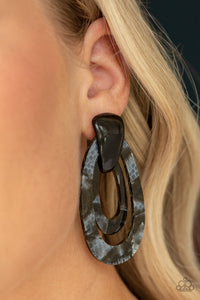 Paparazzi The HAUTE Zone - Black - Acrylic Hoops - Post Earrings - Lauren's Bling $5.00 Paparazzi Jewelry Boutique