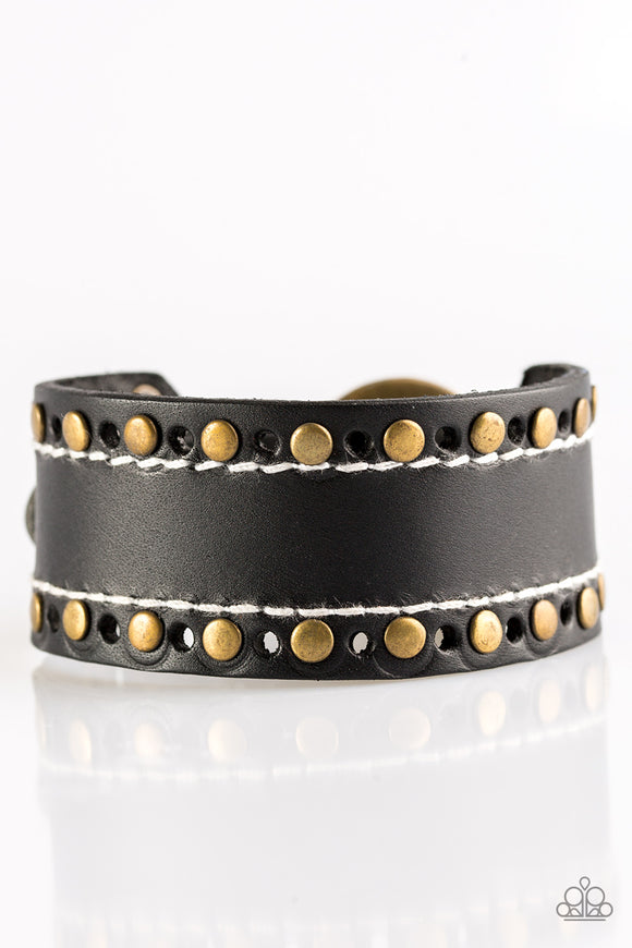 Paparazzi The WANDER Years - Black Leather Band - Brass Studs - Bracelet